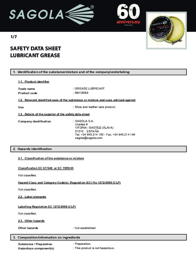 Safety data sheet Lubricant Grease