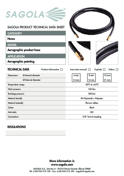 Technical data sheet Aerographic Product hose