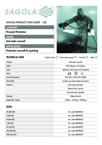 Technical data sheet Antistatic Coverall