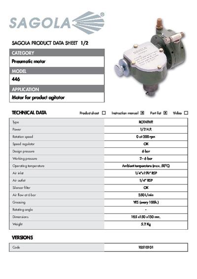 Technical data sheet Pneumatic motor 446